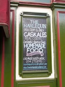 The Harlequin chalk board, Sheffield S3